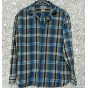 Lucky Brand Blue Plaid Size Large Flannel Shirt